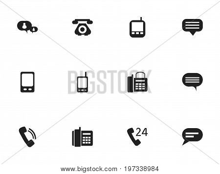 Set Of 12 Editable Gadget Icons. Includes Symbols Such As Chatting, Office Telephone, Forum And More
