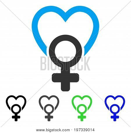 Female Love flat vector pictograph. Colored female love gray, black, blue, green pictogram versions. Flat icon style for application design.