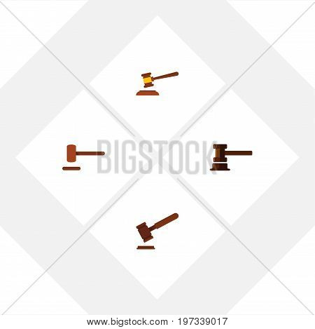 Flat Icon Hammer Set Of Defense, Justice, Hammer And Other Vector Objects