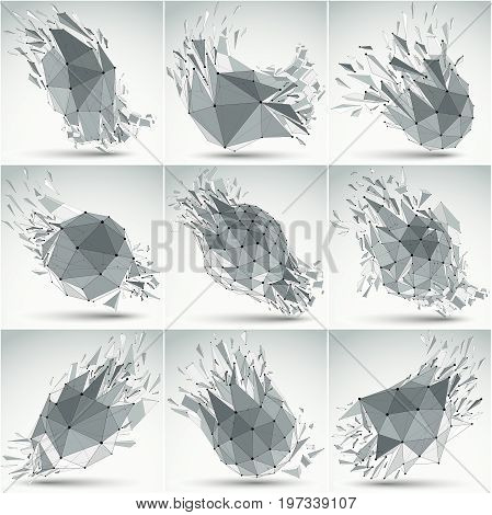 Collection of abstract 3d faceted figures with black connected lines and dots. Set of vector low poly shattered grayscale graphic elements with fragments and particles. Explosion effect.