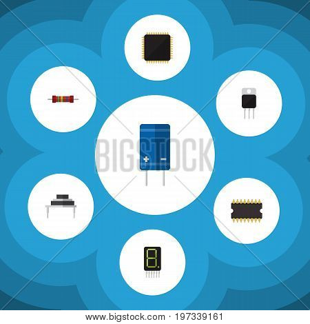 Flat Icon Electronics Set Of Destination, Transistor, Resistance And Other Vector Objects
