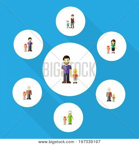 Flat Icon Family Set Of Mother, Son, Grandchild Vector Objects