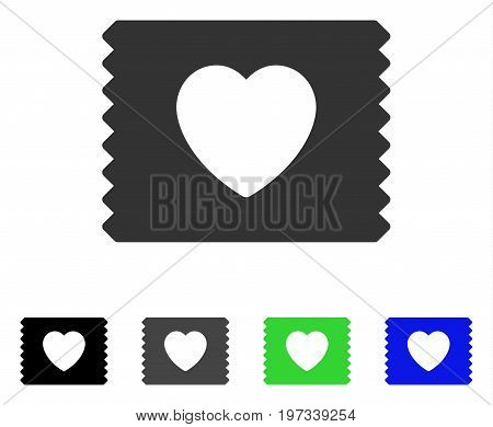 Heart Condom Pack flat vector pictograph. Colored heart condom pack gray, black, blue, green pictogram variants. Flat icon style for application design.