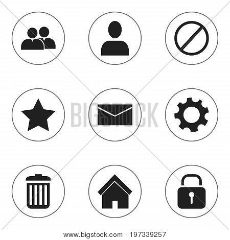 Set Of 9 Editable Network Icons. Includes Symbols Such As Security, Home, Group And More