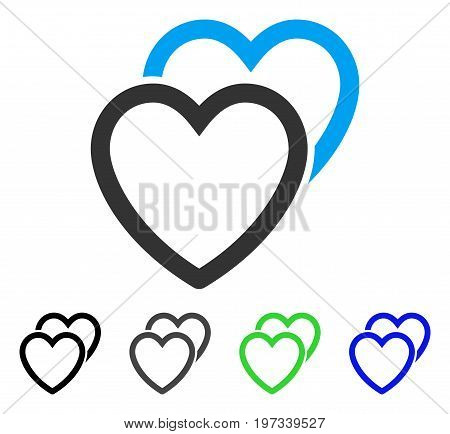 Love Hearts flat vector pictogram. Colored love hearts gray, black, blue, green icon versions. Flat icon style for graphic design.
