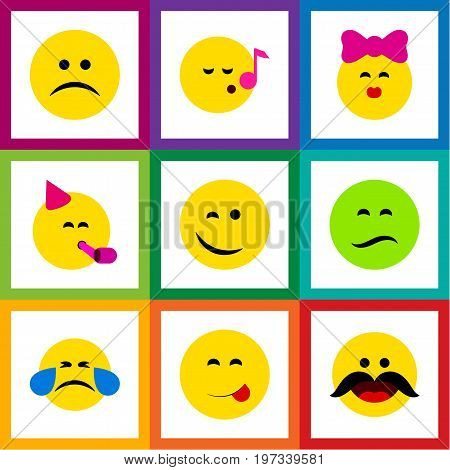 Flat Icon Emoji Set Of Party Time Emoticon, Sad, Cheerful And Other Vector Objects