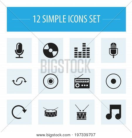 Set Of 12 Editable Song Icons. Includes Symbols Such As Microphone, Drum, Rec And More