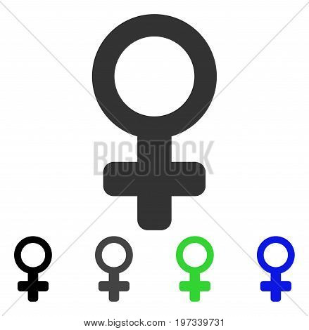 Venus Symbol flat vector pictogram. Colored venus symbol gray, black, blue, green icon versions. Flat icon style for graphic design.