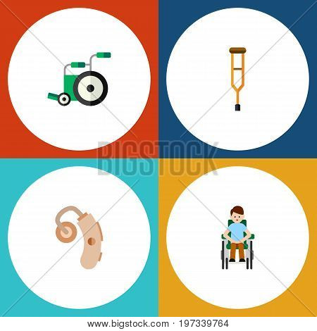Flat Icon Cripple Set Of Disabled Person, Stand, Equipment Vector Objects