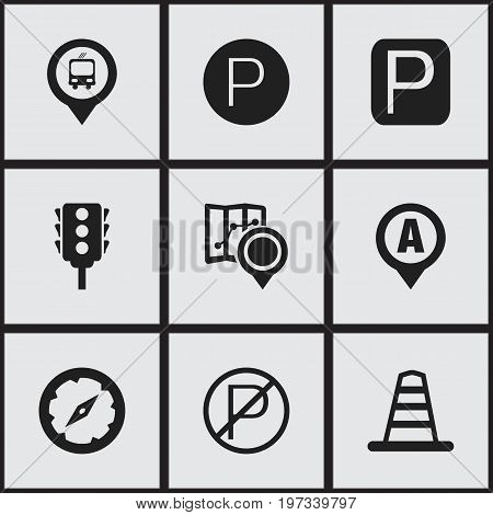 Set Of 9 Editable Direction Icons. Includes Symbols Such As Magnet Navigator, Barrier, Prohibited Car Stay And More