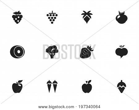 Set Of 12 Editable Dessert Icons. Includes Symbols Such As Jonagold, Strawberry, Cluster And More