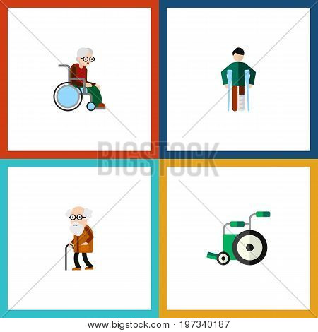 Flat Icon Handicapped Set Of Injured, Wheelchair, Ancestor And Other Vector Objects