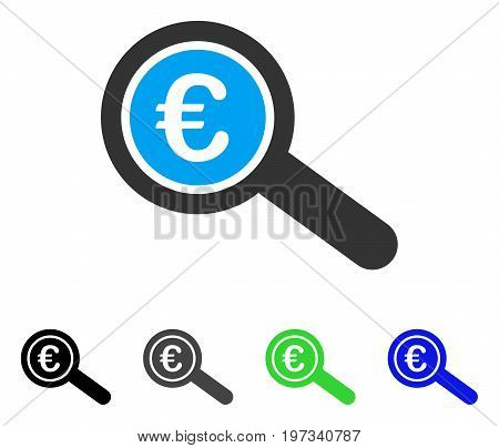 Euro Financial Audit flat vector icon. Colored euro financial audit gray, black, blue, green pictogram versions. Flat icon style for graphic design.
