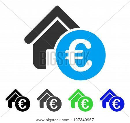 Euro Home Rent flat vector illustration. Colored euro home rent gray, black, blue, green pictogram variants. Flat icon style for graphic design.