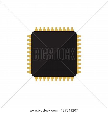 Cpu Vector Element Can Be Used For Cpu, Microprocessor, Motherboard Design Concept.  Isolated Microprocessor Flat Icon.