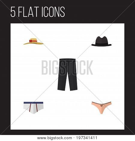 Flat Icon Clothes Set Of Elegant Headgear, Underclothes, Lingerie And Other Vector Objects