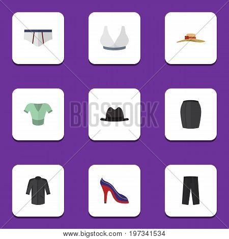 Flat Icon Garment Set Of Casual, Brasserie, Pants And Other Vector Objects