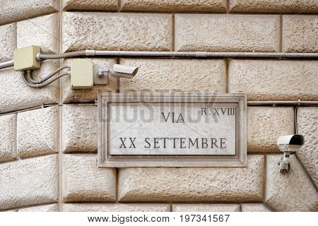 Via Xx Settembre Street Sign On Wall In Rome