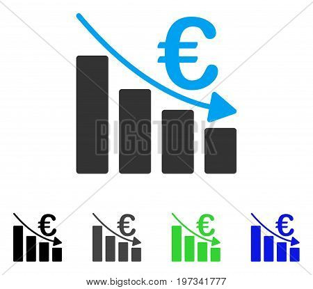 Euro Recession Bar Chart flat vector illustration. Colored euro recession bar chart gray, black, blue, green pictogram variants. Flat icon style for web design.