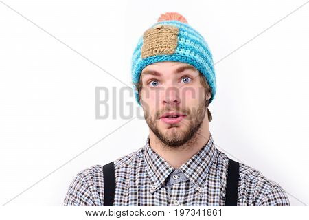 Winter And Casual Style Clothes Concept. Bearded Man Wears Hat