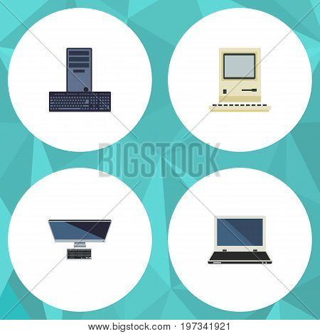 Flat Icon Laptop Set Of Computing, Processor, PC And Other Vector Objects