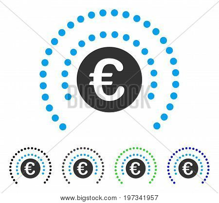 Euro Shield Sphere flat vector icon. Colored euro shield sphere gray, black, blue, green pictogram variants. Flat icon style for application design.