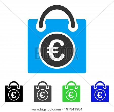 Euro Shopping Bag flat vector illustration. Colored euro shopping bag gray, black, blue, green pictogram versions. Flat icon style for web design.