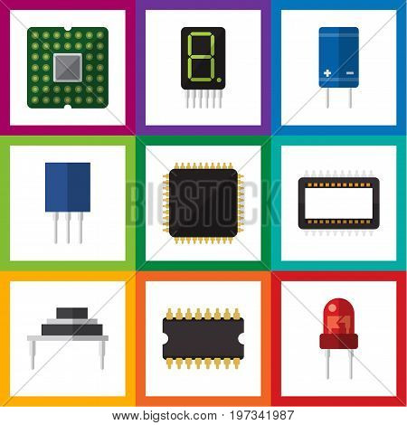 Flat Icon Technology Set Of Mainframe, Receptacle, Recipient And Other Vector Objects