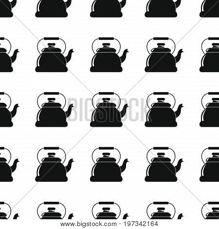 Kettle seamless pattern vector illustration background. Black silhouette kettle stylish texture. Repeating kettle seamless pattern background for kitchen design and web