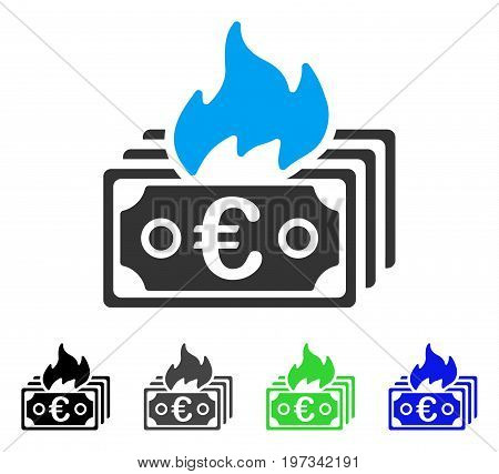 Burn Euro Banknotes flat vector illustration. Colored burn euro banknotes gray, black, blue, green icon versions. Flat icon style for graphic design.