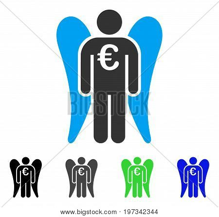 Euro Angel Investor flat vector pictogram. Colored euro angel investor gray, black, blue, green icon versions. Flat icon style for graphic design.