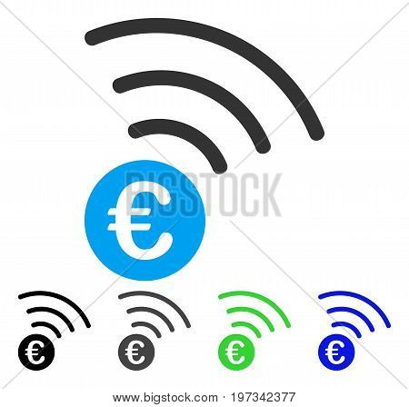 Euro Announce flat vector pictogram. Colored euro announce gray, black, blue, green pictogram variants. Flat icon style for graphic design.