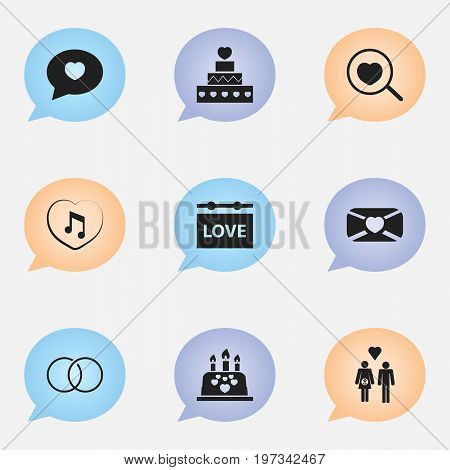 Set Of 9 Editable Love Icons. Includes Symbols Such As Proclamation, Music, Engagement And More