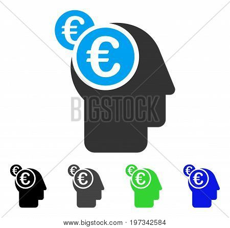 Euro Businessman Intellect flat vector pictogram. Colored euro businessman intellect gray, black, blue, green icon variants. Flat icon style for web design.