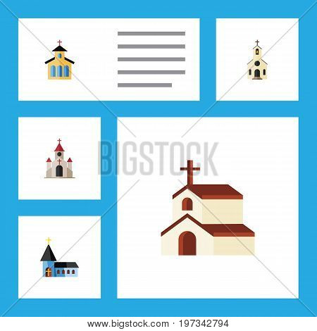 Flat Icon Christian Set Of Catholic, Traditional, Religion And Other Vector Objects
