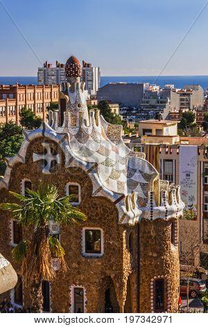 BARCELONA, SPAIN - MAY 3 2017: Gaudi architecture in park Guell.