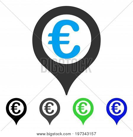 Euro Geotargeting flat vector pictogram. Colored euro geotargeting gray, black, blue, green pictogram variants. Flat icon style for application design.