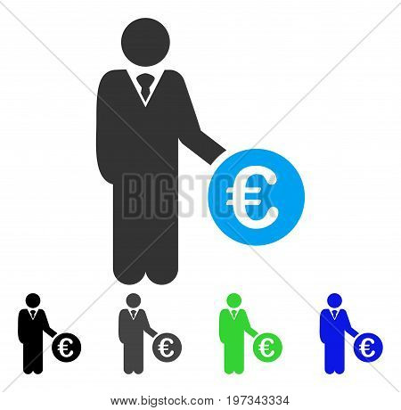 Euro Investor flat vector illustration. Colored euro investor gray, black, blue, green pictogram variants. Flat icon style for graphic design.