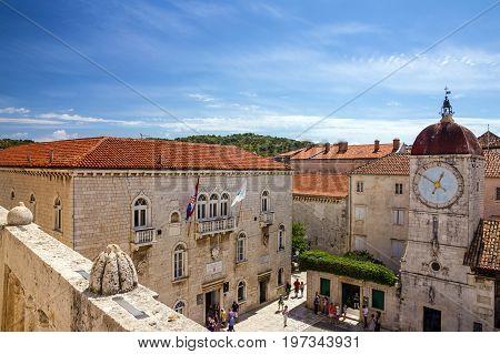 Trogir, Croatia - July 17, 2017: Trogir loggia square and clock tower, Croatia