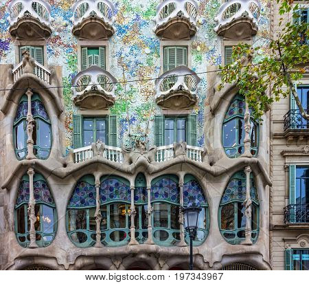 BARCELONA, SPAIN - JULY 28, 2017: Fragment of famous building Casa Batllo of Antoni Gaudi