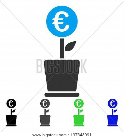 Euro Project Pot flat vector pictogram. Colored euro project pot gray, black, blue, green icon variants. Flat icon style for web design.