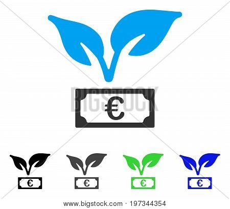 Euro Startup Sprout flat vector illustration. Colored euro startup sprout gray, black, blue, green pictogram versions. Flat icon style for application design.