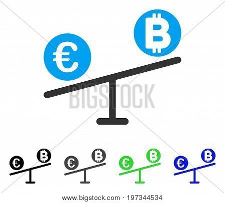 Bitcoin Euro Market Swings flat vector pictogram. Colored bitcoin euro market swings gray, black, blue, green icon variants. Flat icon style for application design.