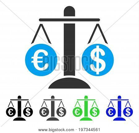 Currency Compare Scales flat vector pictograph. Colored currency compare scales gray, black, blue, green pictogram variants. Flat icon style for application design.