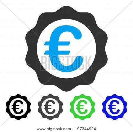Euro Award Seal flat vector pictograph. Colored euro award seal gray, black, blue, green pictogram variants. Flat icon style for application design.
