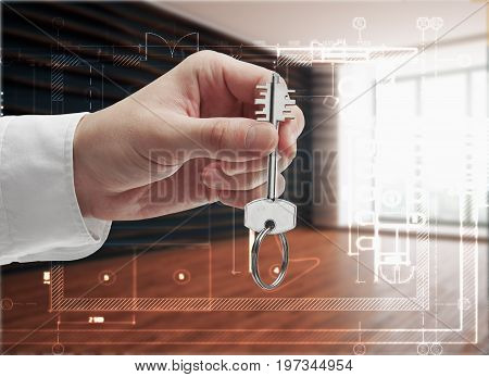 Businessman holding key in modern interior with daylight. Owner concept. 3D Rendering