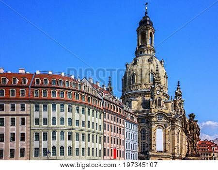 Dresden, Germany. Frauenkirche Cathedral church architectural view