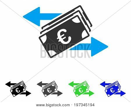 Euro Banknotes Transfers flat vector illustration. Colored euro banknotes transfers gray, black, blue, green icon variants. Flat icon style for graphic design.