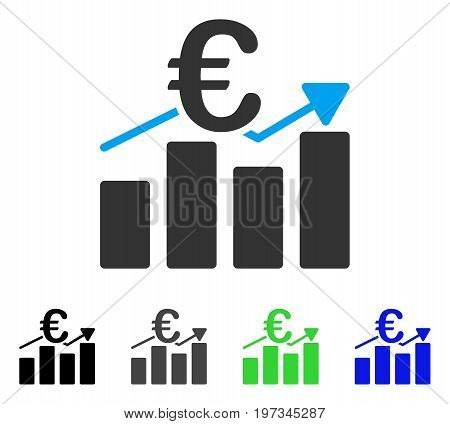 Euro Business Bar Chart flat vector icon. Colored euro business bar chart gray, black, blue, green icon versions. Flat icon style for graphic design.