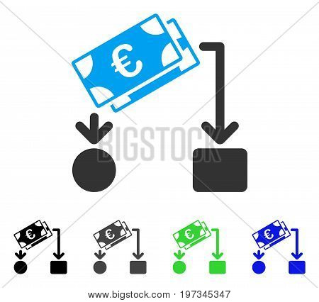 Euro Cash Flow flat vector illustration. Colored euro cash flow gray, black, blue, green pictogram variants. Flat icon style for application design.
